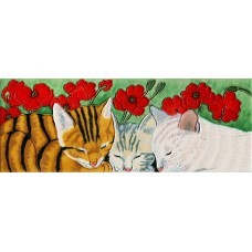 "6"" X 16"" Cats Nap under Poppies"