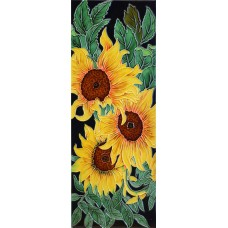 """6"""" X 16"""" Sunflower with Black Background Vertical"""