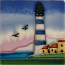 "3""X3"" MAGNET Blue & White Lighthouse"