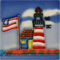 "3""X3"" MAGNET Lighthouse With American Flag"