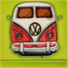 """3""""X3"""" MAGNET Red Volkswagen Van"""