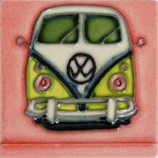 """3""""X3"""" MAGNET Green Volkswagen Van"""