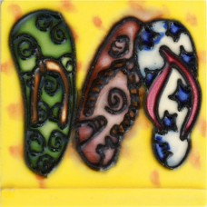 """3""""X3"""" MAGNET 3 Flip Flops with Yellow Background"""