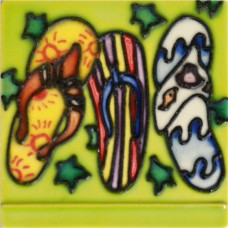 """3""""X3"""" MAGNET 3 Flip Flops With Green Background"""