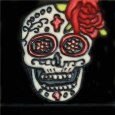 """3""""X3"""" MAGNET Skull With Rose on Top of Head"""