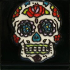 """3""""X3"""" MAGNET Skull Wth Rose on Forehead"""
