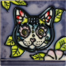 """3""""X3"""" MAGNET Skull Cat With Leaves"""