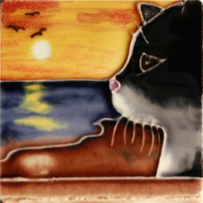 """3""""X3"""" MAGNET Cat With Sunset"""