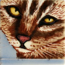 """3""""X3"""" MAGNET Brown Cat With Yellow Eyes"""