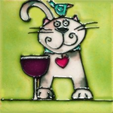 "3""X3"" MAGNET Blue Bird On Cat With Wine"