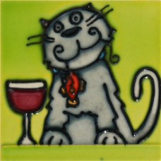 """3""""X3"""" MAGNET Cat Beside a Glass of Wine"""