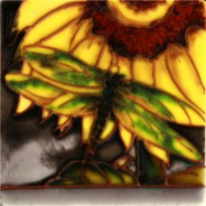 """3""""X3"""" MAGNET Dragonfly on Sunflower"""