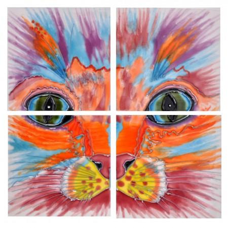 "4"" X 4"" Set of 4 - Samantha Cat Face"