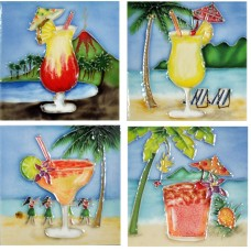"4"" X 4"" Set of 4 - Happy Hour"