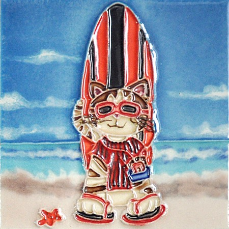 "4"" X 4"" Set of 4 - Surfboards Cats"