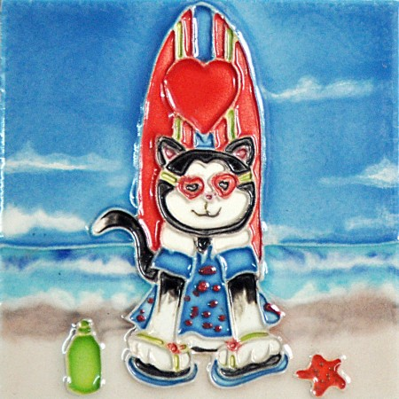"""4"""" X 4"""" Set of 4 - Surfboards Cats"""
