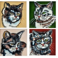 "4"" X 4"" Set of 4 - Cat Face"