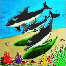 "8""X 8 "" Three Dolphins"