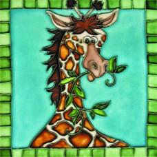 "8""x 8"" Giraffee with Mosaic Border"