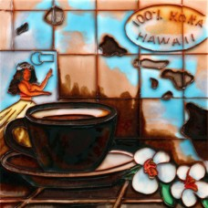 """8""""x8"""" Hawaii Coffee Map"""