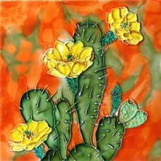 "8""x8"" Cactus with Yellow Flowers"