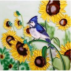 """8""""x8"""" Bird with Flowers"""