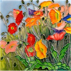 "8""x8"" Multi- Colored Poppies"