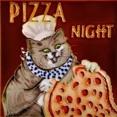 """8""""x8"""" Pizza Night Chef Cat"""