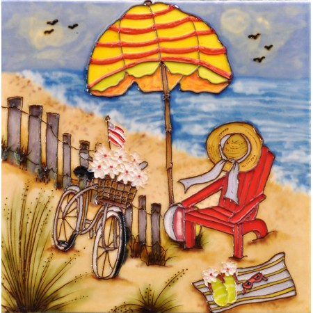 """8""""x8"""" Live, Laugh, Sail - Sandal at the Beach"""