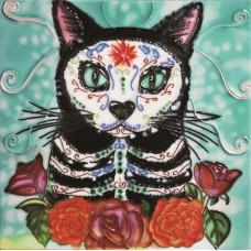 "8""x8"" Dia de Los Muertos - Day of the Dead Cat"