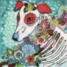 """8""""x8"""" Dia de Los Muertos - Day of the Dead Dog"""