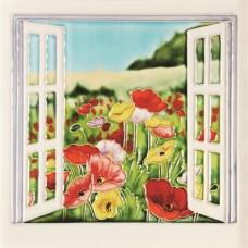 """8""""x8"""" Multicolor Poppies Flower Open Window"""