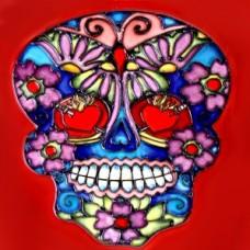 """8""""x8"""" Dia de Los Muertos - Day of the Dead Skull III"""
