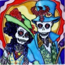 """8""""x8"""" Dia de Los Muertos - Day of the Dead Couple"""