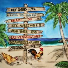 "8""x8"" Key West Seaport Distance Arrows -  Roosters"