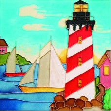 "8""x8"" Red and white light house"