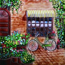 """8""""x8"""" Green bike by the door"""