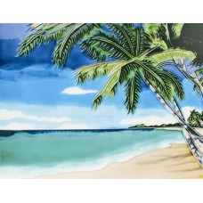 """11""""x14"""" Palm tree view by the sea"""
