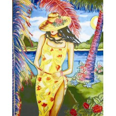 """11""""x14"""" A lady in yellow dress"""