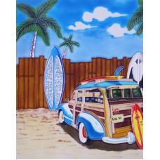 """11""""x14"""" Blue Woody car"""