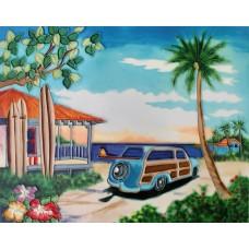 "11""x14"" Woody car by the Beach"