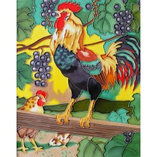 "11""x14"" Chicken eat grapes"