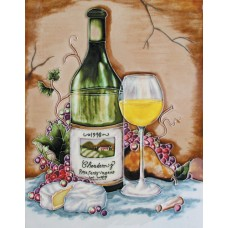 "11""x14"" Chardonnay Bottle, Glass, Brie, Pear & Purple Grapes"