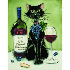 "11""x14"" Feline Wine Black Cat With Cabernet and Green Background"