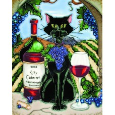 "11""x14"" Feline Wine Black Cat With Cabernet and Vineyard Background"
