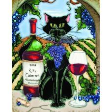 "11""x14"" Feline Wine Black Cat With Cabernet and Vineyard Background"