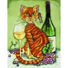 "11""x14"" Feline Wine Orange Cat with Chardonnay and Corkscrew  Green Background"