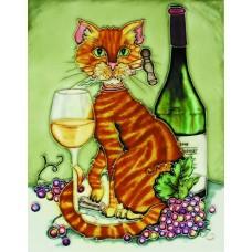 "11""x14"" Feline Wine Orange Cat with Chardonnay and Corkscrew  Green Background"