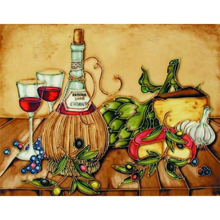 """11""""x14"""" 2 Glasses of Red Wines with Bottle"""