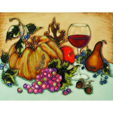 "11""x14"" Havest Fruit With Red Wine Glass"